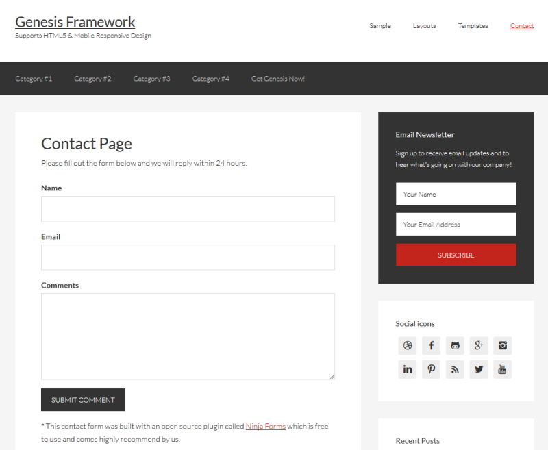 Ninja Forms on Genesis Framework Demo