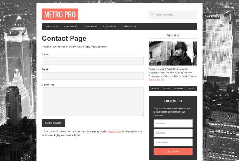 Ninja Forms on Metro Pro Demo