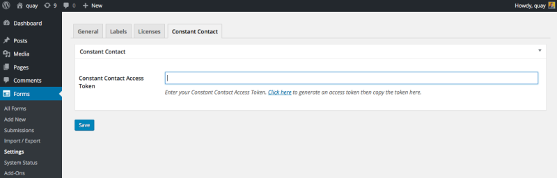 double opt-in form step 1: constant contact activation