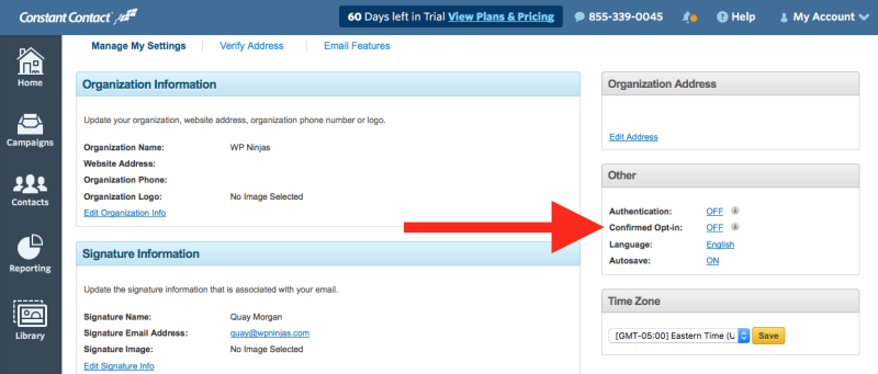 double opt-in form step 3: enabling double (confirmed) opt-in in constant contact