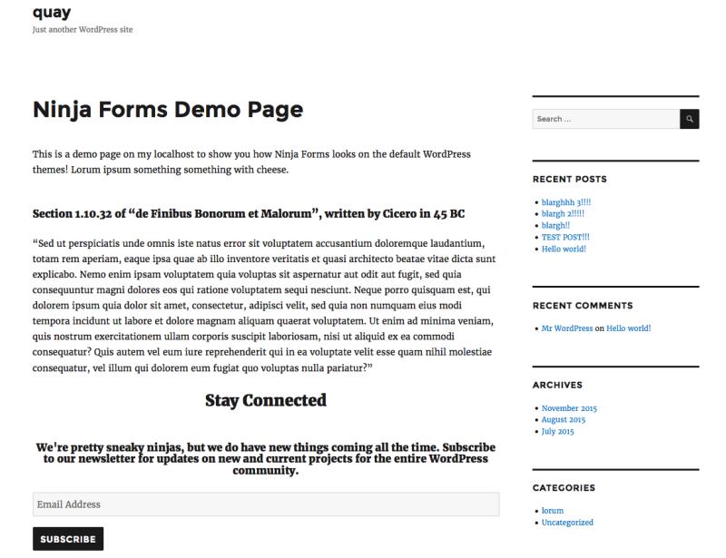 Ninja Forms on Twenty Sixteen Demo