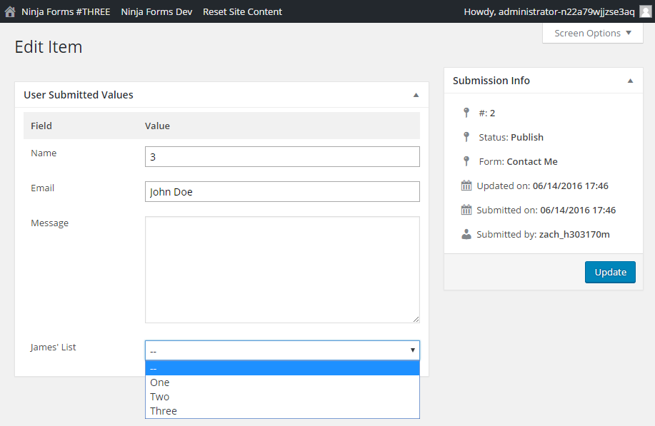 """Click """"Update"""" to save changes to a form submission"""