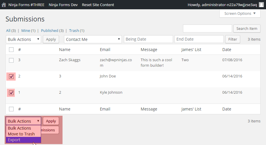 """Choose """"Export"""" from the """"Bulk Actions"""" menu to export more than one submission at a time in CSV format."""