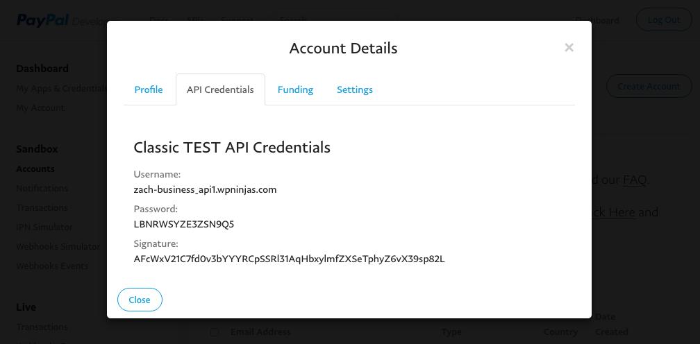 Sandbox API Credentials