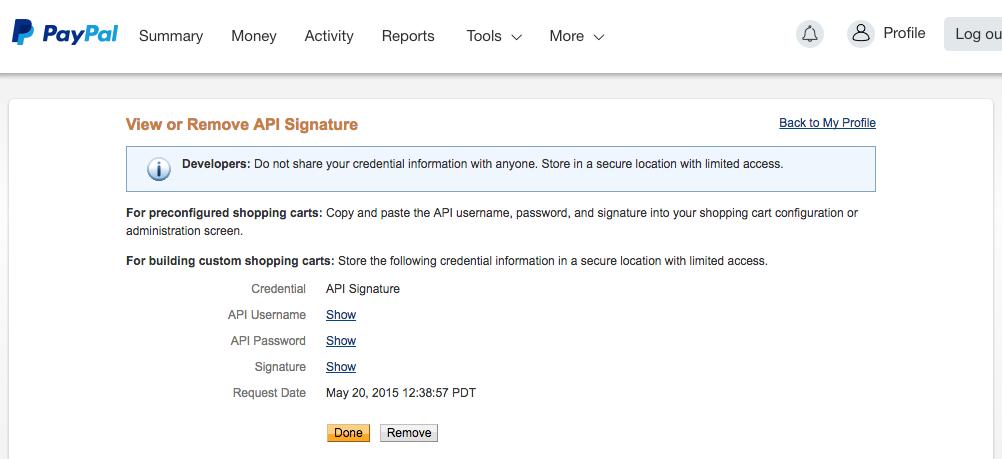 PayPal Live API Credentials