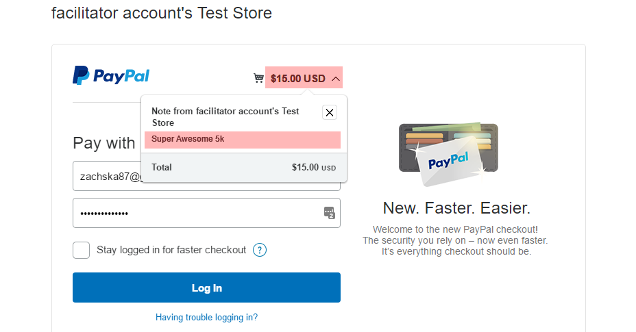 Test Store - shows note and payment amount