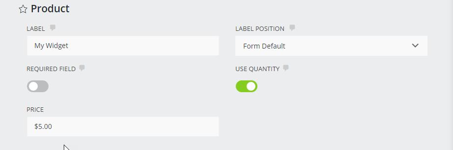 Product field settings