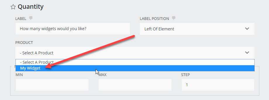 Select the product to attach your quantity to.
