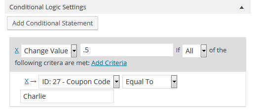 coupon code for ninja forms conditional statement