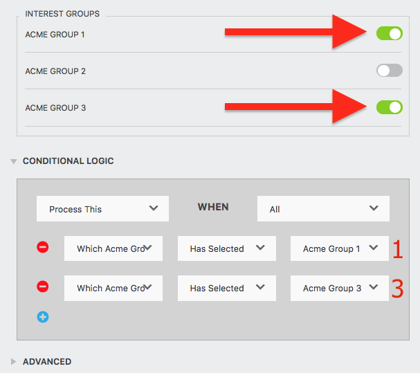 mailchimp interest groups conditional processing