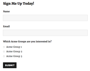 mailchimp interest groups conditional selection form demo