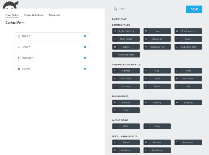 add a wordpress form ninja forms builder