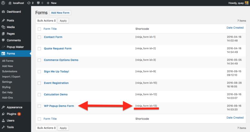 ninja form shortcode for wordpress popup maker email list subscription
