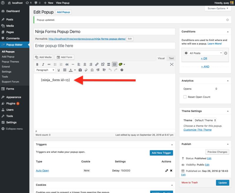 wordpress popup plugin wp popup maker: rich text editor