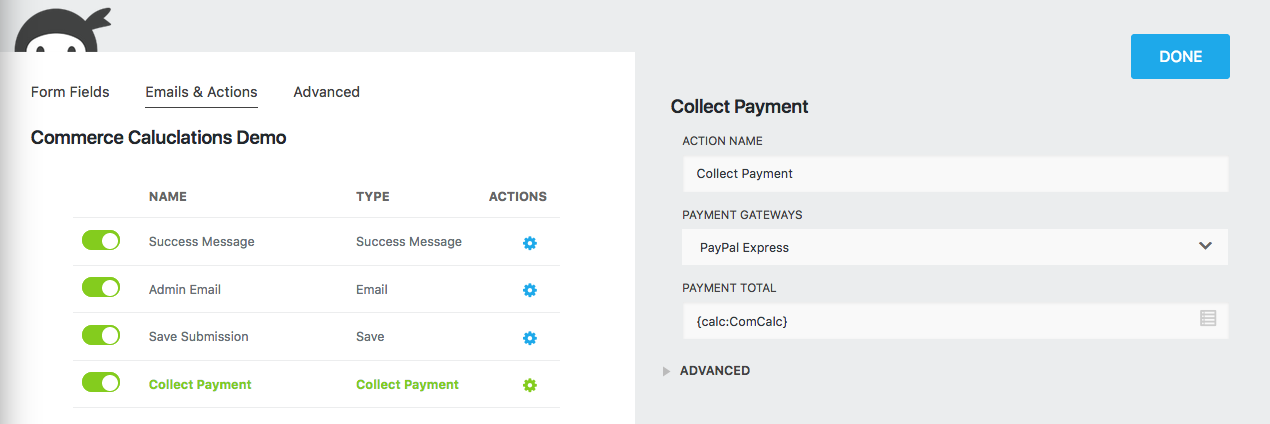 ninja forms calculations collect payment action including a calculation value