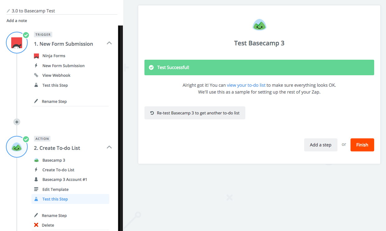 zapier and ninja forms basecamp integration
