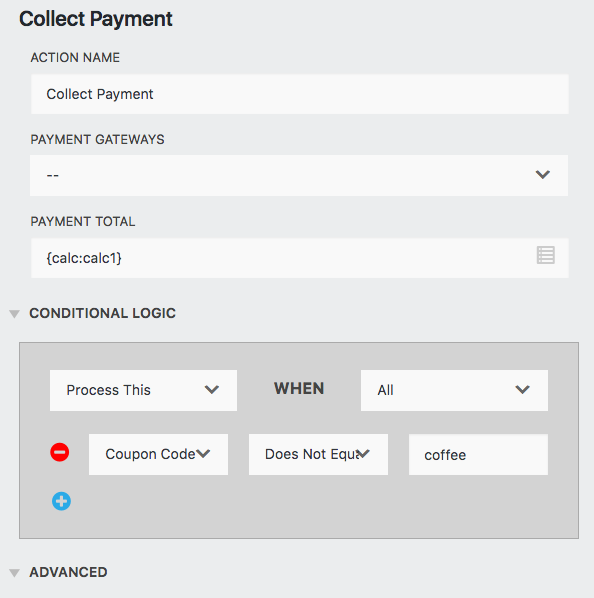 coupon codes demo coditional statement in the Collect Payment action