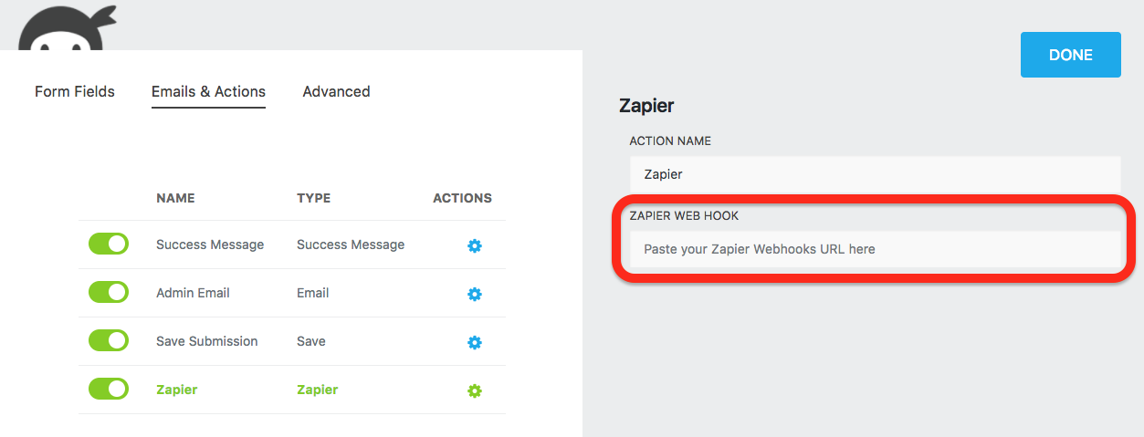 ninja forms video responses adding a zapier action