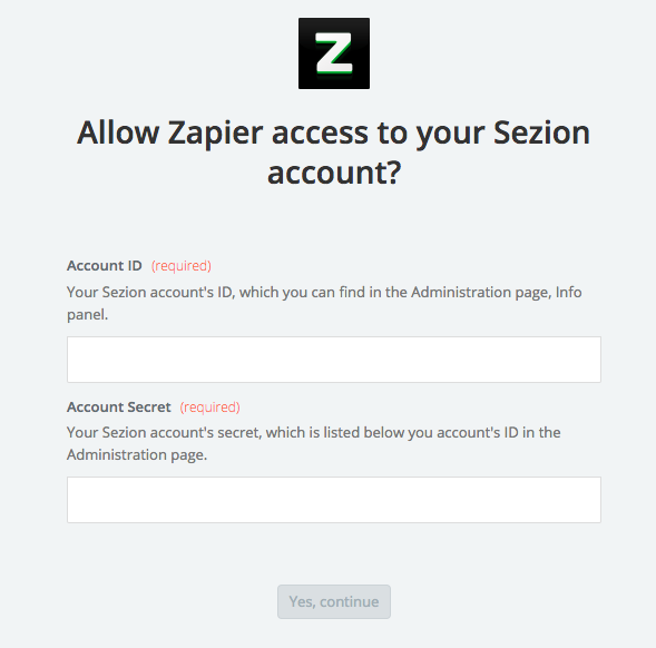 ninja forms video responses- syncing sezion account to zapier via sezion account codes