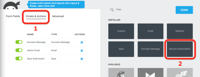 reculry subscription action in the ninja forms builder to accept subscriptions