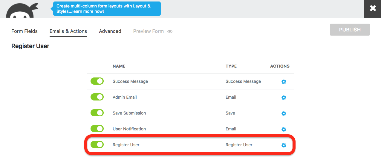 user management register user action in the emails and actions tab