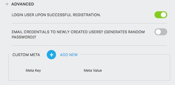 register user action advanced settings