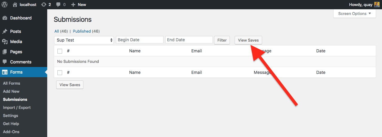 save user progress view saves button under forms>Submissions