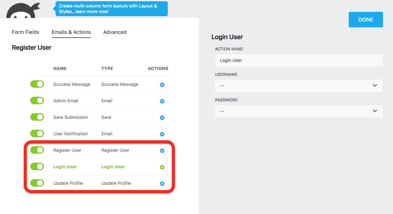 new actions for user management: register user, login user, update profile