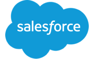 salesforce logo- blue cloud with white salesforce text