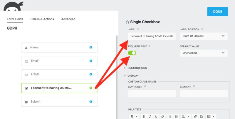 gdpr compliance via checkbox field