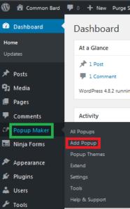 popup maker location in wordpress dashboard