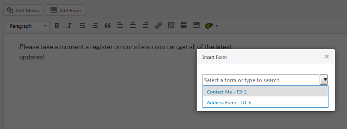 shortcode selection box for adding a wordpress popup form with ninja forms