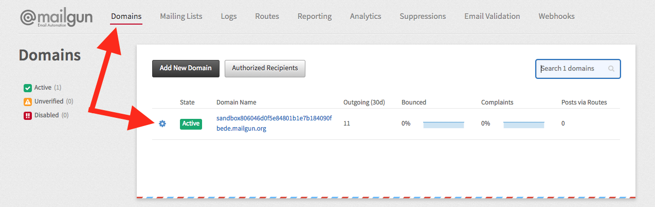 ninja forms email with mailgun, mailgun domain settings page