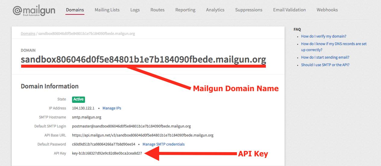 ninja forms email with mailgun, mailgun domain name and api key information