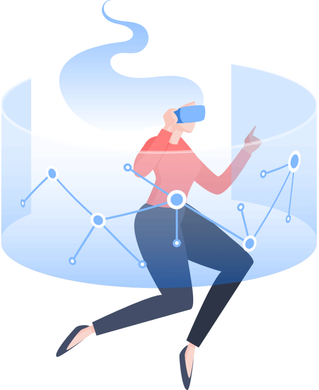 image of a woman creating wordpress forms while floating in a futuristic cylinder