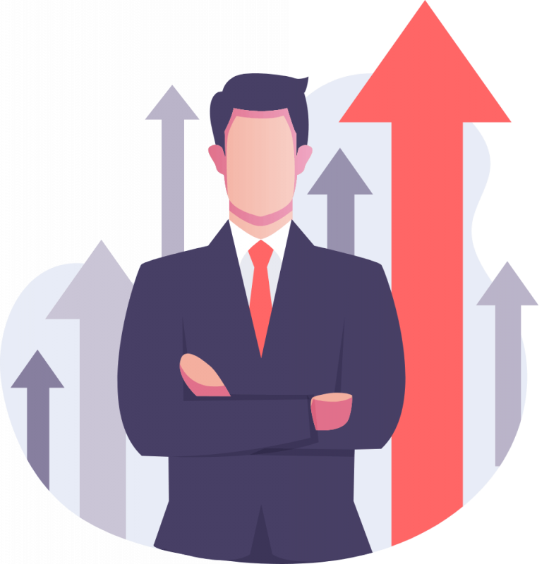 image of a suited man against a bar graph like background showing growth resulting from using a better wordpress form builder