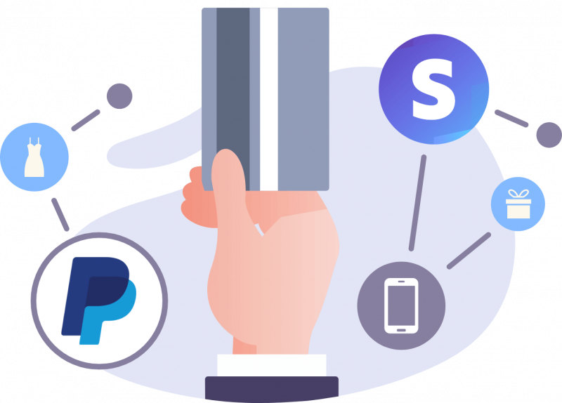 image if a suited man's hand swiping a credit card with PayPal and Stripe logos representing the ability to accept payments with wordpress forms