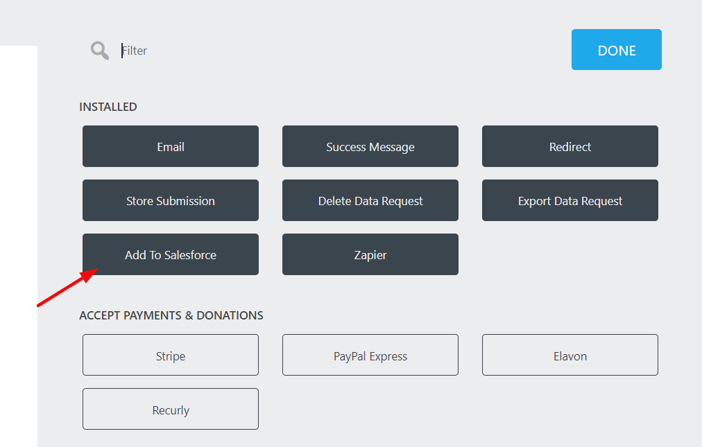 add to salesforce action