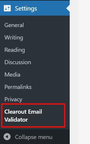 clearout email validator menu on wordpress