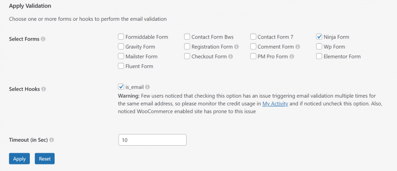 second part of clearout plugin settings, selecting ninja forms to apply the filter to
