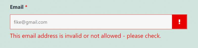clearout blocking gmail address on a wordpress form