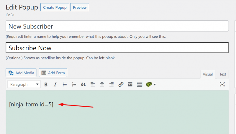 create new popup and embed ninja forms