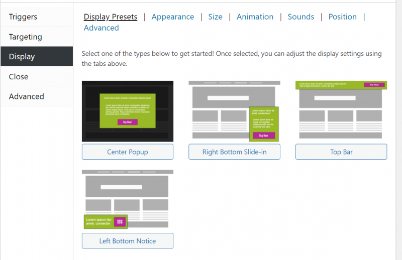 display settings in WordPress popup maker