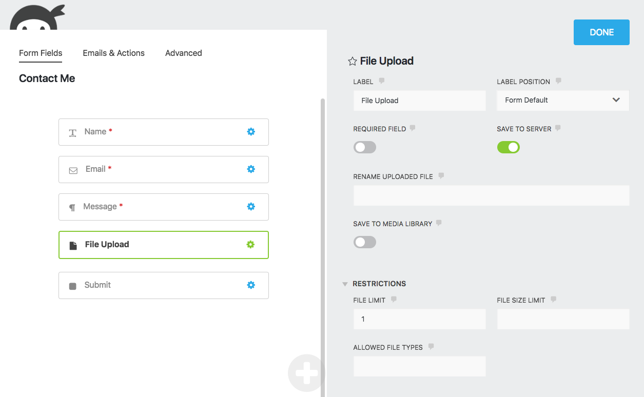 File Uploads Add An Upload Field To Any Form Ninja Forms